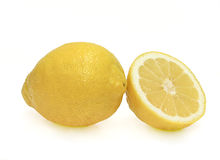One Lemon and a half. Isolated on white Stock Photo