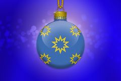 One light blue hanging christmas tree ball with golden stars ornaments on a blue background with lens flare. Illustration Stock Photos