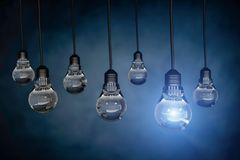 One light bulb standing out from other bulbs,3d rendering.  Royalty Free Stock Photos