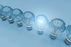 One light bulb standing out from other bulbs,3d rendering.  Royalty Free Stock Image