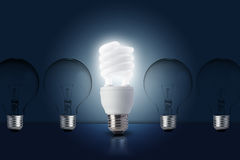 One Light bulb turn on Stock Images