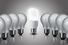 One Light bulb turn on in the center Royalty Free Stock Photos