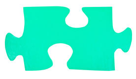 One light green paper piece of jigsaw puzzle Stock Photos