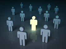 One light man standing with other dim people. Stand out from the crowd and different concept , One light man standing with other dim people. 3D rendering royalty free illustration