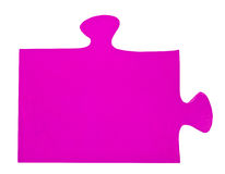 One lilac piece of jigsaw puzzle. Isolated on white background Stock Images