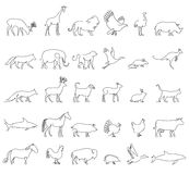One line animals set, logos. vector stock illustration. Turkey and cow, pig and eagle, giraffe and horse, dog and cat Royalty Free Stock Photos