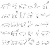 One line animals set, logos. vector stock illustration. Turkey and cow, pig and eagle, giraffe and horse, dog and cat Stock Photo