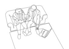 One line drawing of businessmen handshaking his business partner. Great teamwork vector illustration