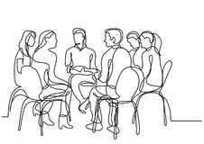 One line drawing of group of young people talking. Vector linear illustration stock illustration