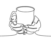 One line drawing Hand holding mug with tea or coffee. vector illustration