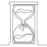 One line drawing of isolated vector hourglass Stock Images