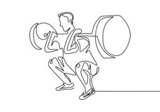 Free One Line Drawing Of Man Body Builder At Gym. Male Person Workout With Lifting Barbells During A Weightlifting Session At Gymnasium Stock Image - 161072501