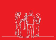 One line drawing of office party with people standing and talking vector illustration