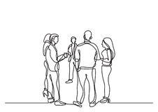 One line drawing of office party with people standing and talking. Vector linear illustration stock illustration