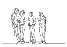 One line drawing of standing business team. Vector linear illustration stock illustration