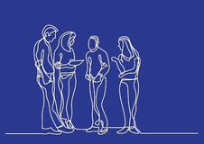 One line drawing of standing business team. Vector linear illustration royalty free illustration