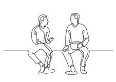 One line drawing of two sitting men talking. Vector linear illustration vector illustration