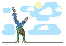 One line drawing of boy standing on his hands. One line flat vector illustration isolated on white background stock illustration
