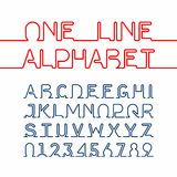 One line font. One line alphabet and numbers. One single continuous line font royalty free illustration