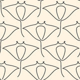One line manta ray seamless pattern Stock Photos