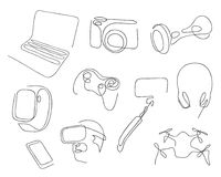 One line set of modern electronic gadgets for job, entertainment. Hand drawn vector illustration. One line set of modern electronic gadgets for job stock illustration
