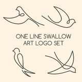 One line swallow logo set Royalty Free Stock Photography