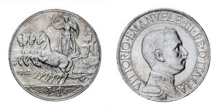 One Lira Silver Coin 1912 Quadriga Veloce Vittorio Emanuele III Kingdom of Italy. Isolated on white, Mint of rome Stock Image
