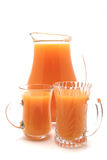 One liter pitcher and two glasses Stock Photo