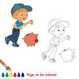 One little baby boy play with coin and piggy bank Royalty Free Stock Photos