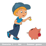 One little baby boy play with piggy bank Royalty Free Stock Photo