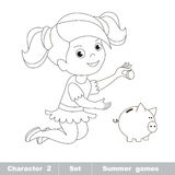 One little baby girl play with coin and piggy bank Royalty Free Stock Photos