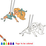 One little baby girl swinging on a swing. Page to be color. Coloring book for children Royalty Free Stock Image
