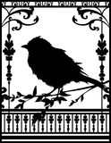 One Little Black Bird. One black bird standing on the tree royalty free illustration