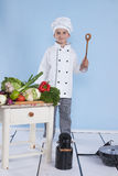 One little boy as chef cook making salad. Royalty Free Stock Image