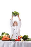 One little boy as chef cook making salad. Stock Image