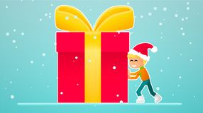 One little boy move new year gift. New year. Christmas Vector Illustration