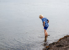 One little boy who are walking in the water. A little boy goes with his feet in the water on the beach and looking for clams and crabs Royalty Free Stock Photography