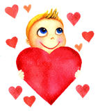 One little cute smiling boy holding a big red heart in his hands. Charity baby. Kid dreams and hopes to receive charity Stock Image
