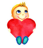 One little cute smiling boy holding a big red heart in his hands. Charity baby. Kid dreams and hopes to receive charity Royalty Free Stock Image