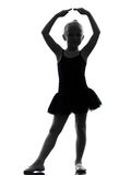 One little girl ballerina ballet dancer dancing silhouette Royalty Free Stock Photography