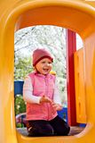 One  little girl on playground in park Stock Images
