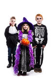 One little girl and two boys dressed the Halloween costumes: witch, skeleton, vampire. Studio portrait isolated over white background stock images