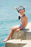 Smiling boy with snorkeling gear royalty free stock image