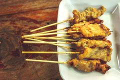 One of the local Thai dishes Hmoo Sa tay. One of the local Thai dishes name Hmoo Sa Tay or Pork Satay stock images