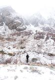 One lone person braves the winter in the Sierra. Nevada of California Stock Photography