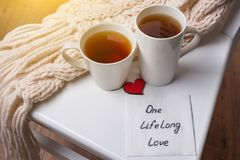 One long life of love is an abstract symbolic image. Couple of cups, background warm scarf, in home interior, napkin with text Royalty Free Stock Photography