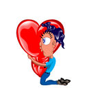 ONE & ONLY LOVE. Vector art of a man on his knees hugging a shiney red love heart Stock Photo