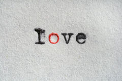 One Love. Close-up of a word love written with an old typwriter on white paper Stock Photo