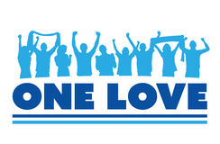 One love with cheering crowd vector Royalty Free Stock Image