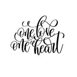 One love one heart black and white hand lettering script Royalty Free Stock Images